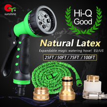 Good quality 25 50ft 75 100 feet magic flexible watering expandable hose, US EU water gun pipe for garden with free spray nozzle