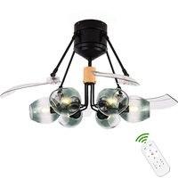Светодиодные лампы современный подвесной вентилятор дьявол стеклянный абажур подвесной дистанционное управление свет ventilador де тето освещ