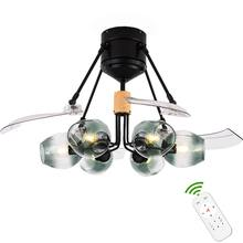 Led Modern Ceiling Fan Lamp Devil Glass Lampshade Pendant Remote Control Light ventilador de teto Lighting For Dinning Room(China)