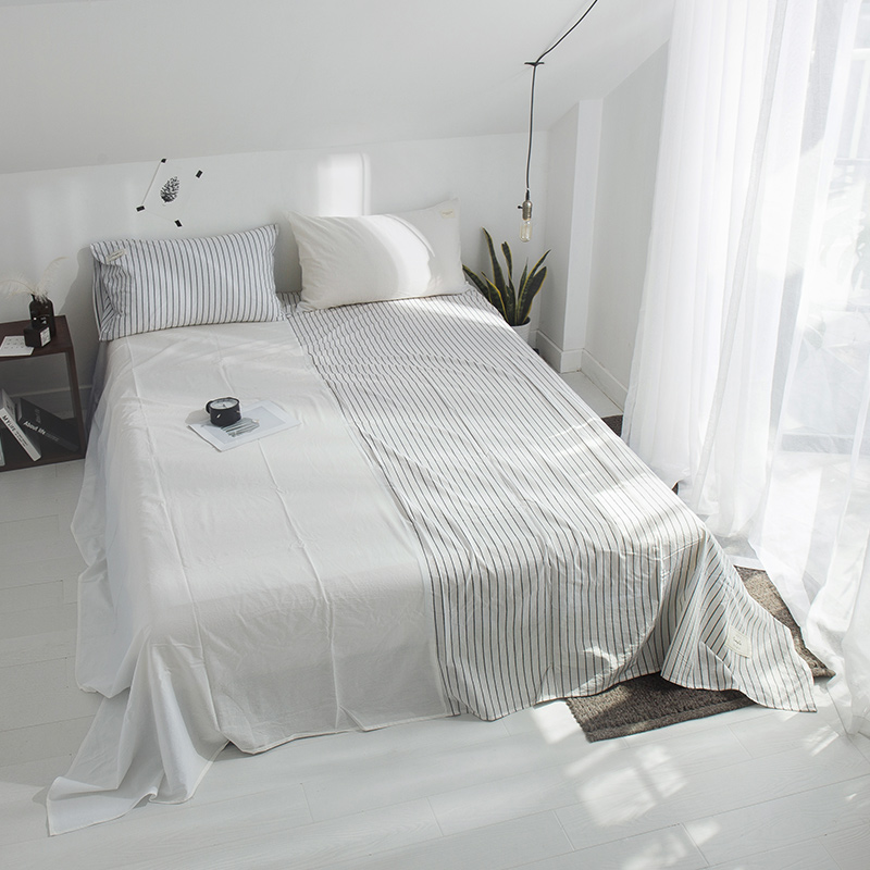 Pure White Stitching Pattern 3 Pce Bed Sheet Queen King Bed Fitted Bed Sheet Set Bedclothes Home Textile Sheet Set PillowcasePure White Stitching Pattern 3 Pce Bed Sheet Queen King Bed Fitted Bed Sheet Set Bedclothes Home Textile Sheet Set Pillowcase