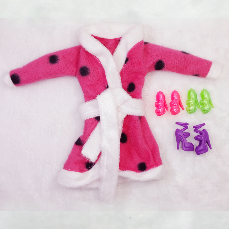 Doll Equipment Bathrobe Lavatory Fits Winter Pajama Put on Sleeping Informal Garments For Barbie Doll Play Home Toy Present