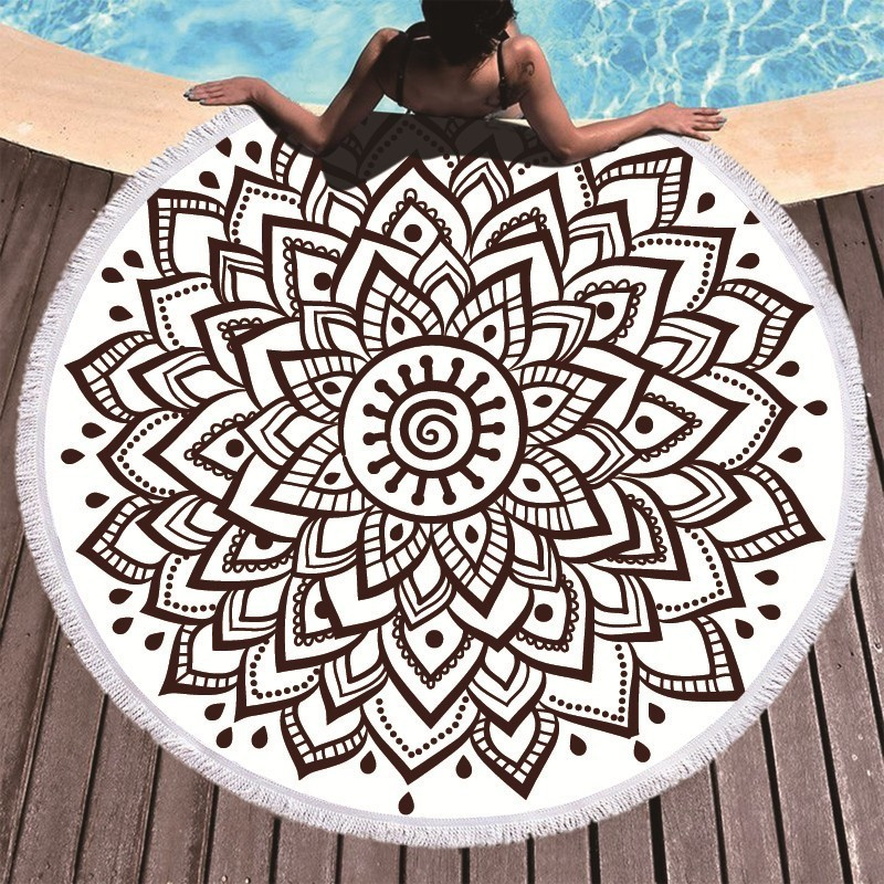 Image 4 - Boho Mandala Microfiber Round Beach Towels Summer Roundie Beach Towel Large 150cm Outdoor Sports Travel Yoga Tapestry Bath Towel-in Bath Towels from Home & Garden