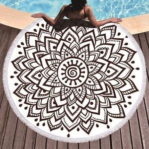 Image 4 - Boho המנדלה מיקרופייבר עגול חוף מגבות קיץ Roundie חוף מגבת גדולה 150 cm חיצוני ספורט נסיעות יוגה שטיח אמבטיה מגבת