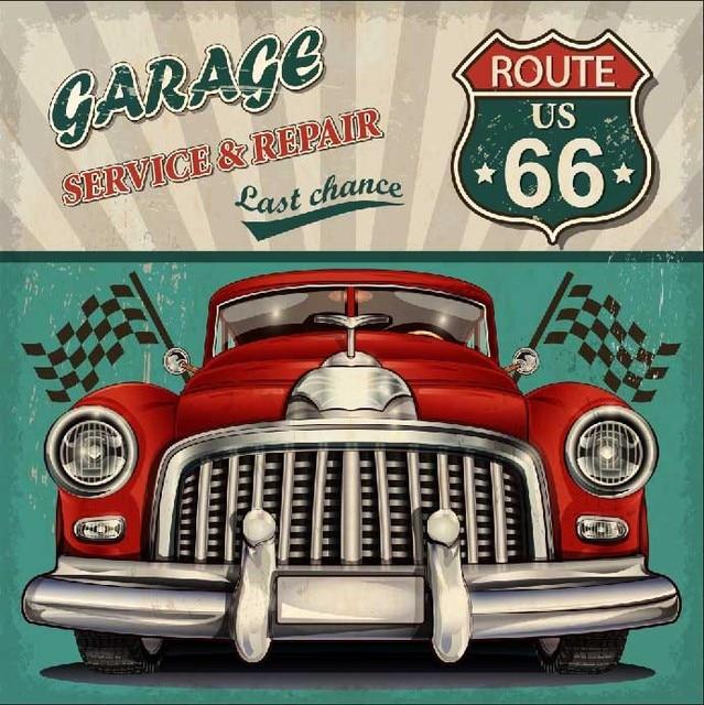 8x8ft Garage Service Repair Us Route 66 Vintage Car Flags