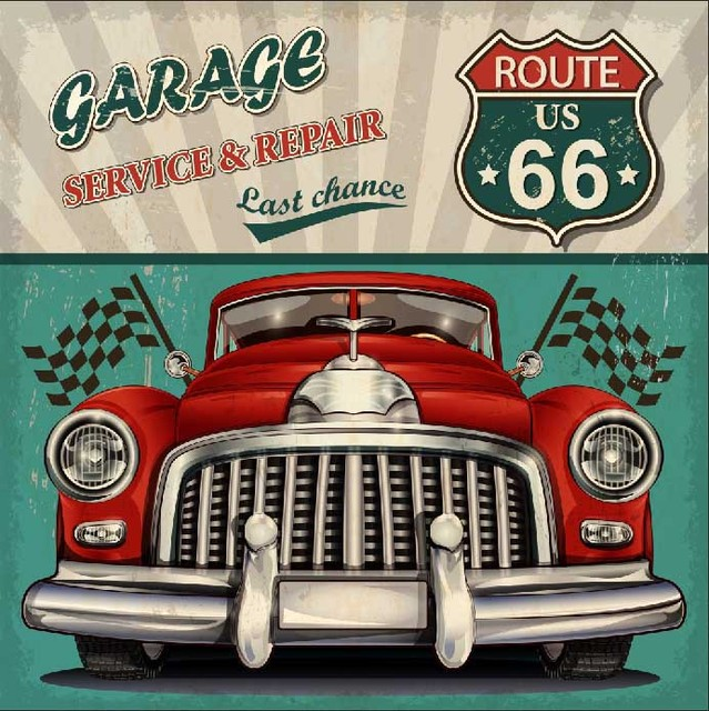 8x8ft garage service repair us route 66 vintage car flags. Black Bedroom Furniture Sets. Home Design Ideas