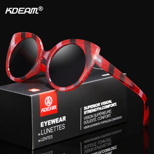 KDEAM Large Size Cat Eye Sunglasses Women Fashion Stripe Designer Sun Glasses Round High-gloss Lens With Box