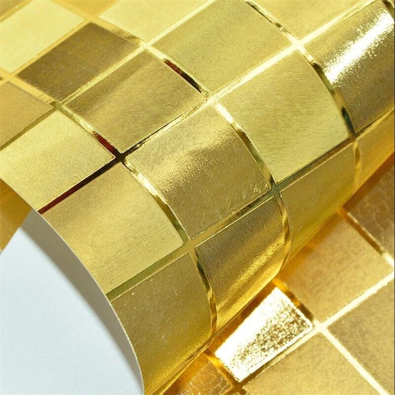 beibehang Golden silver gold foil lattice mosaic reflective wallpaper porch light box KTV nail shop bar TV background wall paper