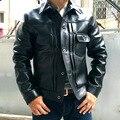 Fábrica de un solo botón chaqueta de cuero genuino negro natural real leahter para hombre abrigo punky corta de piel de oveja ropa masculina