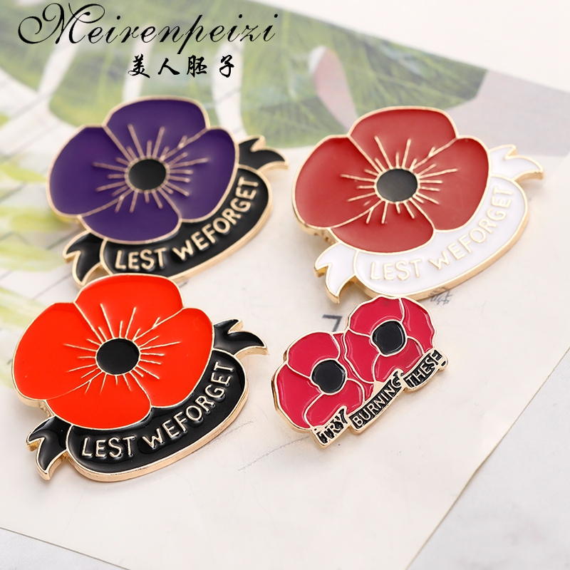 Badges & Patches Collectables NEW POPPY DAY RED FLOWER LAPEL PIN