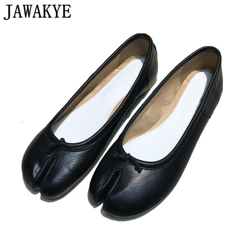Genuine leather flat heel shoes for Women black red split toes apart runway style ladies casual loafers 2018 New zapatos mujer 2016 the new leisure women pointed toes loafers leopard black gray female rivet flat shoes for women s shoes a24