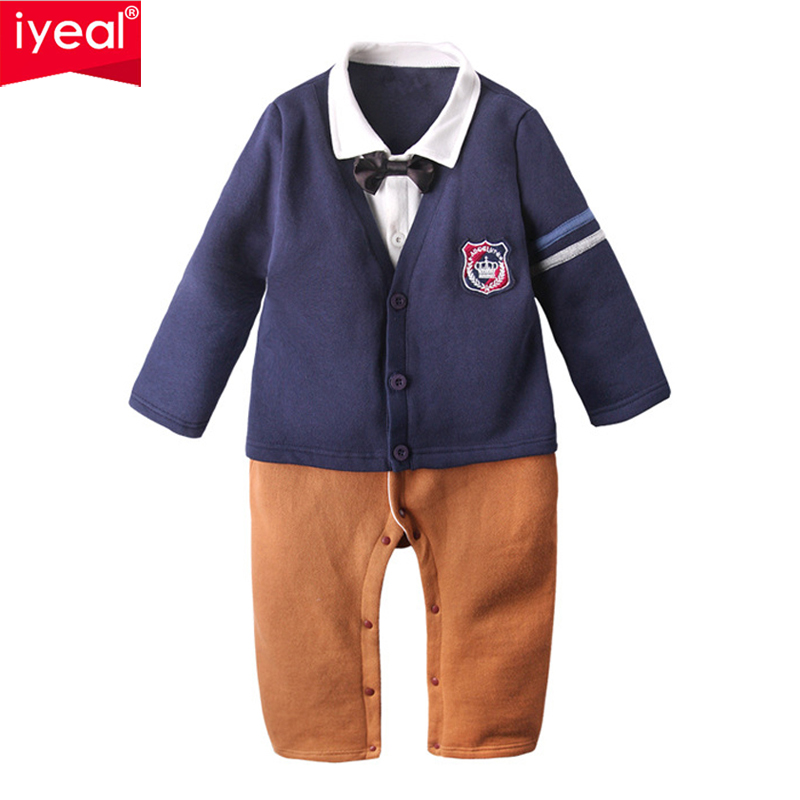 IYEAL Baby Boys Rompers Newborn Cotton Long Sleeve Jumpsuit Autumn Kids Infant Toddler Little Boy England Preppy Style Outfit mother nest 3sets lot wholesale autumn toddle girl long sleeve baby clothing one piece boys baby pajamas infant clothes rompers