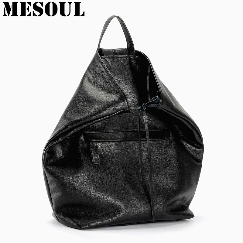 ФОТО Mochila Feminina Genuine Leather Backpack Youth School Bags for girls backpack Bag Fashion Black Travel Back Pack Women Rucksack