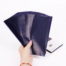 50 unids/lote de papel de carbono 48K de doble cara azul, papel de carbono, papel de oficina escolar