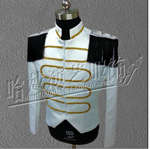 Royal Style white costumes nightclub singers punk fashion slim coat jacket stage dress dj ds clothing
