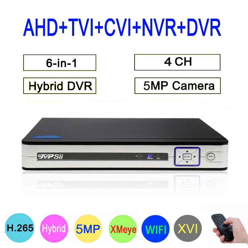 8mp Surveillance Camera Silver Panel Hi3521D XMeye H265+ 4CH 4 Channel Hybrid Coaxial WIFI 6 in 1 XVI TVI CVI NVR AHD CCTV DVR