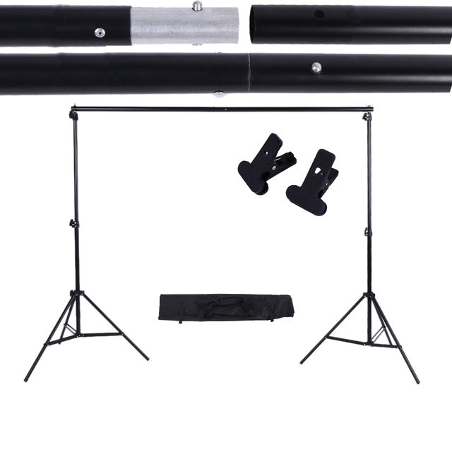 Photography 2 * 3m / 6.6 * 9.8ft Photo Studio Kit Adjustable Background Support Stand Photo Backdrop Crossbar Kit with two Clamp