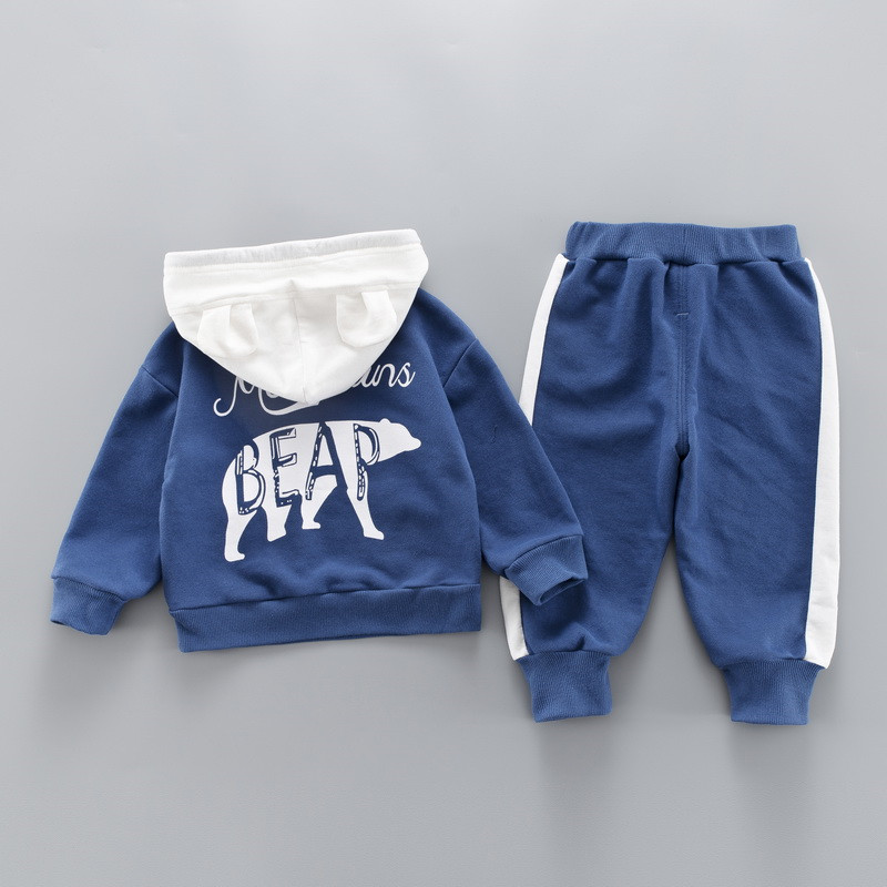0-4 years High quality boy girl clothing set 19 new spring sport active solid kid suit children baby clothing Hoodies+pant 7
