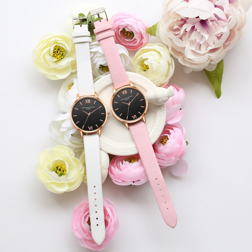 Black Leather Rose Gold Women WristWatches   3
