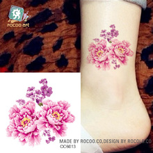 6X6cm Little Cheapest Color Flower Peony Designer Temporary Tattoo Sticker Body Art Water Transfer Fake Taty For Face