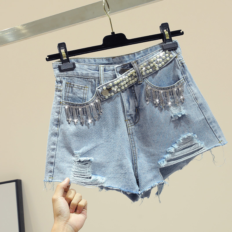 New Style Fringed Beaded Jeans Shorts Women High Street Holes Ripped Jeans Ladies Loose Holiday Beach Hot Pants Female