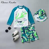 UPF50 + Zwei Stück Badeanzüge für Jungen Dinosaurier Langen Ärmeln kinder Rash Guards Badeanzug Kleinkind Junge Bademode 3 -13 jahre