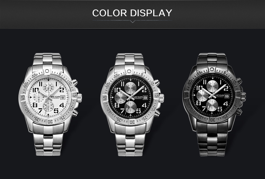 Topdudes.com - MEGIR Luxury Stainless Steel Chronograph Business Wrist Watch