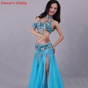 Image 3 - Handgemachte Perlen Stickerei Bh Rock Bauchtanz Kostüm Für Frauen Orientalischen Kleid Für Dance set nach maß Freies Verschiffen