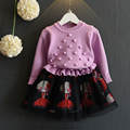 long sleeve girl dress Warm Girl Dress Christmas Wedding Party Dress Knitted Chiffon Winter Kids Girls Clothes Children Clothing