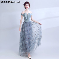 SOCCI Weekend Grey Blue Lace Satin Evening Dress 2017 Off Shoulder Gowns Formal Wedding Party Dresses