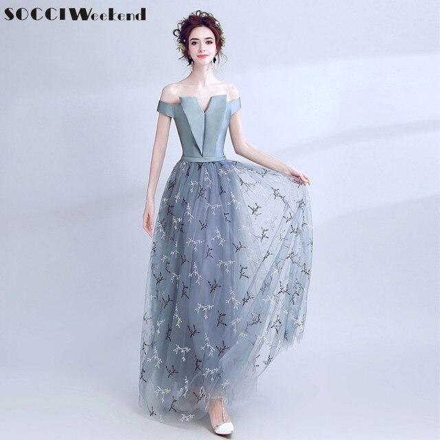 8813fa9942a8 SOCCI Weekend Grey Blue Lace Satin Evening Dress 2018 Off Shoulder Gowns  Formal Wedding Party Dresses Vestido Longo De Festa