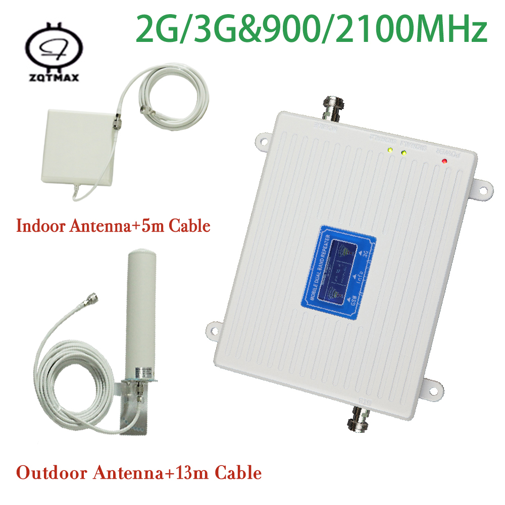 Full Set 900 2100 Mhz Dual Band 2g 3g Repeater Gsm 3g Repeater Mobile Phone Signal Booster Amplifier With Indoor Outdoor Antenna