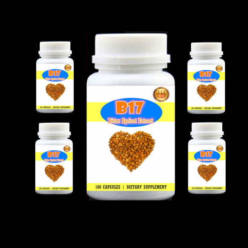 5 bottle 500Caps B17 Amygdalin Bitter Apricot Extract Anti-aging Anti-cancer Reduce blood sugar and lipids Free shipping 1000g 35 3oz 10x powder moringa leaf extract 10 1 powder pure nature herbal energy boost anti aging reduce high blood pressure