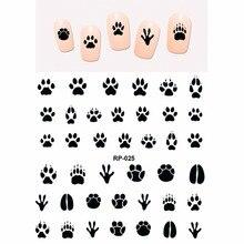 Arte do prego beleza etiqueta do prego água decalque slider desenho animado animal garra pata pé impressão RP025 030