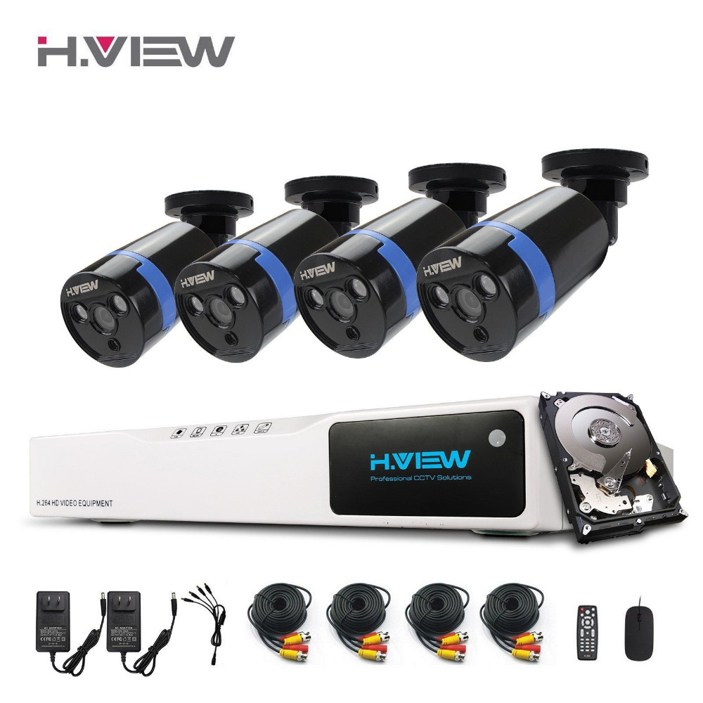 H.view 1080P CCTV Security Camera System HDMI 8CH DVR CCTV System 4 PCS IR Outdoor video Surveillance Camera Set With 1TB HDD