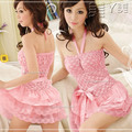 Ah, sweet beauty beauty pajamas lace yarn T sexy nightgown pink Valentines summer pants