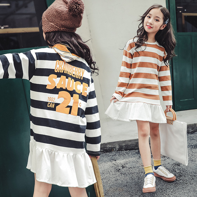 1cd0e6200419 2018 autumn striped long sleeve dresses cotton cute 13 14 years old 160 cm