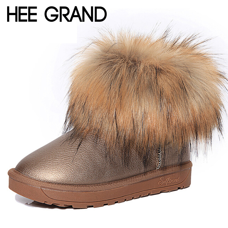 цена на HEE GRAND Brand Women's Shoes Thick Fur Fashion Snow Boots 2016 New Winter Cotton Warm Shoes For Women Ankle Boots XWX3265