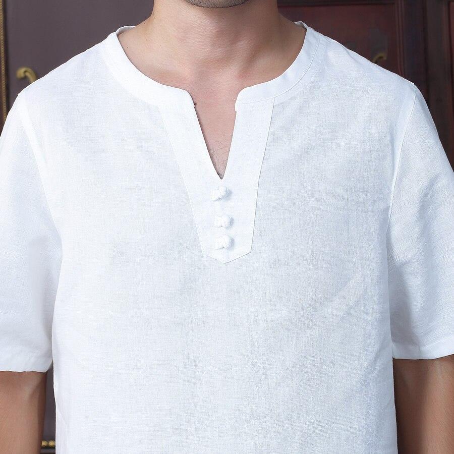Лето новая мода белый традиция китайских людей хлопок лен кунг-фу с коротким рукавом тан костюм ml xl xxl xxxl d07