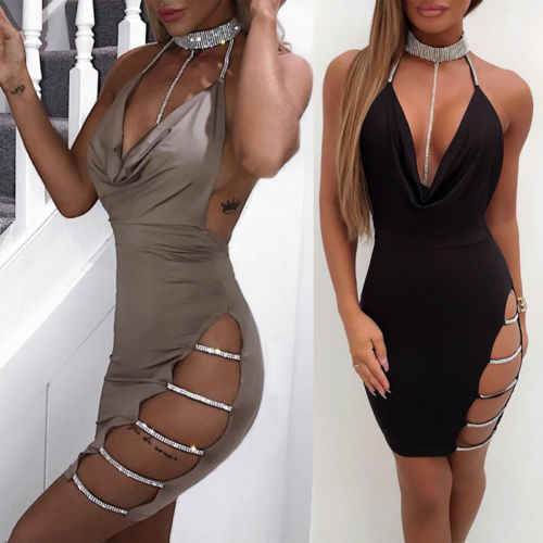 Сексуальная Женская бандажная повязка с глубоким v-образным вырезом платье Bodycon без рукавов открытая Клубная одежда коктейльное мини-платье