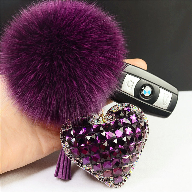 Rhinestone Crystal Heart Keychain  Fluffy Pom Pom Real Fox Fur Keychain Fur Key Chain Key Ring Women Car Bag Charm Pendant