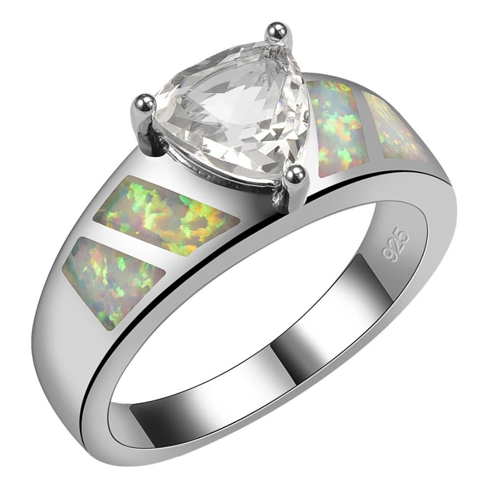 っWhite Crystal Zircon With White Fire Opal 925 Sterling Silver ...