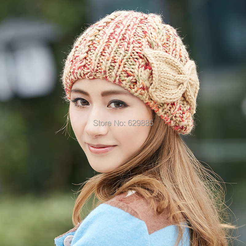 Guttavalli Women Charm cotton winter caps female flower blue bow soft stripe elastic acrylic outdoor thermal knitted brown hats