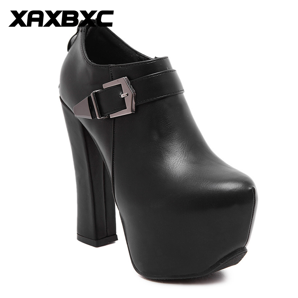 XAXBXC Retro British Style PU Leather Platform High Heels Women Shoes Thick Heel Short Ankle Boots Handmade Casual Lady Shoes xjrhxjr women s lace up high heels women pumps british style leather shoes thick heel round toe platform casual shoes for girls