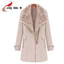 British Style Woolen Coat Women Winter Fur Collar Long Slim Two Pieces Fashion Oblique Zipper Outerwear Casacos Femininos