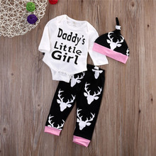 Baby Clothing 2016 Baby Girls Outfits Set Tops Romper +Long Pants Hat Clothes 0-18M