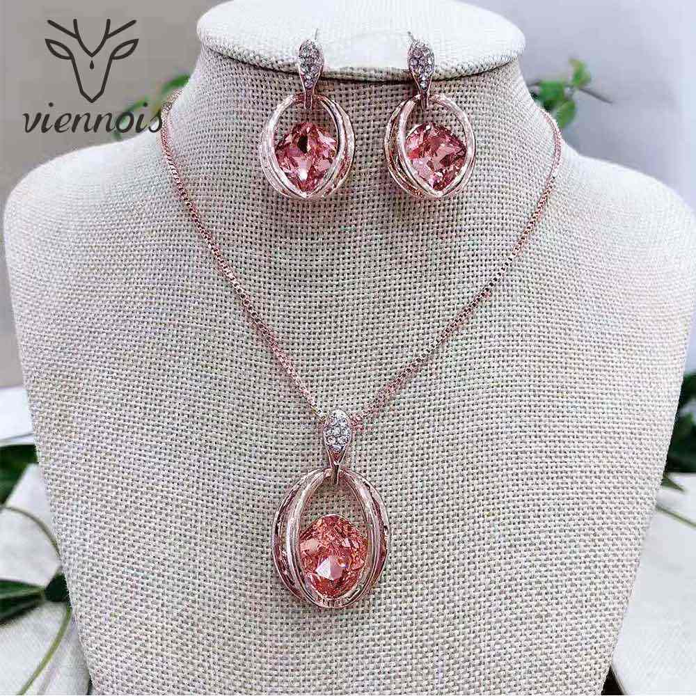Viennois Rose Gold Crystal Jewelry Sets for Women Wedding Bridal Pink Pendant Necklace Dangle Earrings Set 2019