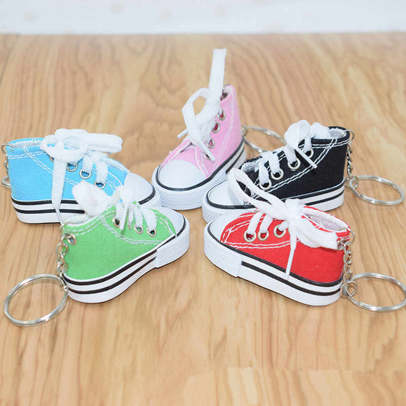 Mini Hip Top Canvas Sneaker Tennis Shoe Keychain Women Blue Pink Black  White Sports Shoes Keyring 9fd4e11172