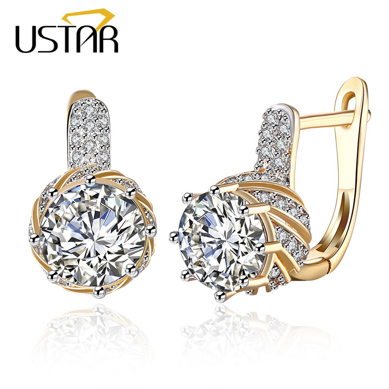 USTAR NEW AAA Zircon Stud Earrings for Women Gold color Fashion Jewelry Crystals Earrings female Ear brincos gift top quality