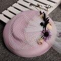 Rosa coreano Sombrero de La Boda 30 CM Malla Velo de Novia Blanco De La Manera Grande de La Flor Headwear Nupcial Del Partido de Cena de La Iglesia accesorios