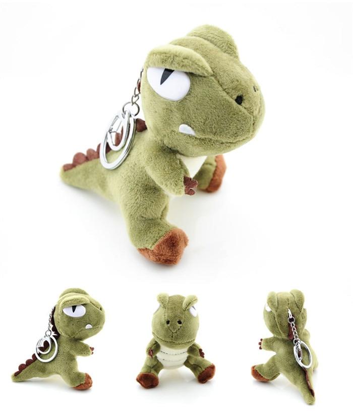 Cute Small Tyrannosaurus Plush Doll Key Ring Silver Chain Woman Bag Charms Pom Pom Dinosaur Toy Keychain Man Trinket Party Gift (18)